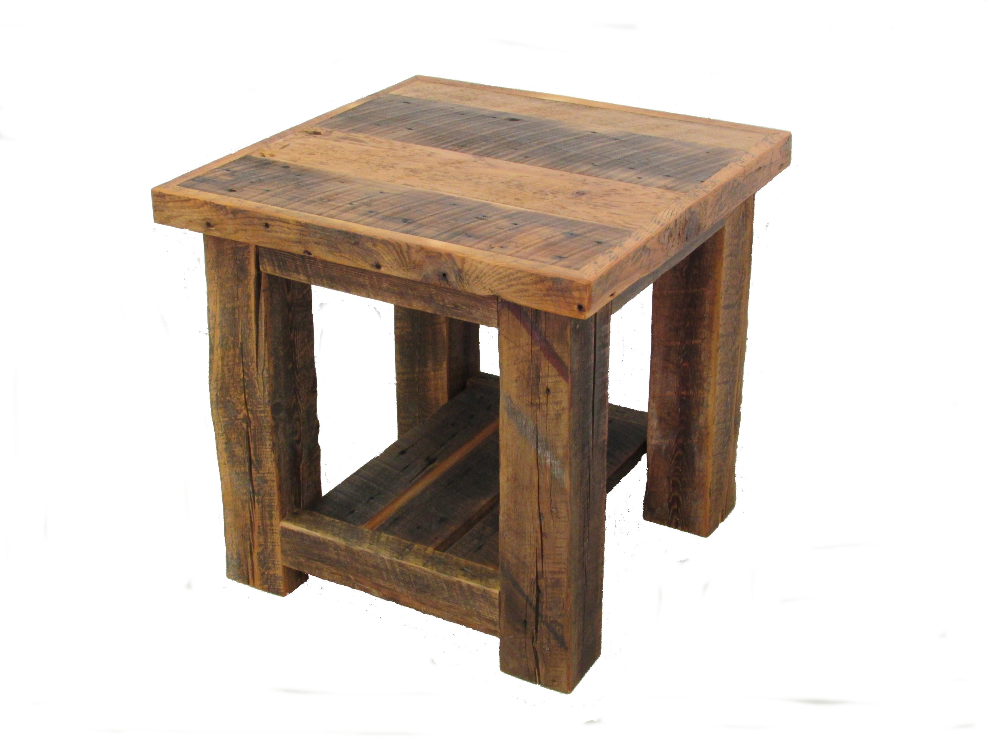 Reclaimed Wood End Tables ~ Reclaimed barn wood post end table white cedar barnwood
