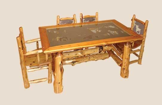 Cedar Log Dining Room Furniture | White Cedar | Barnwood