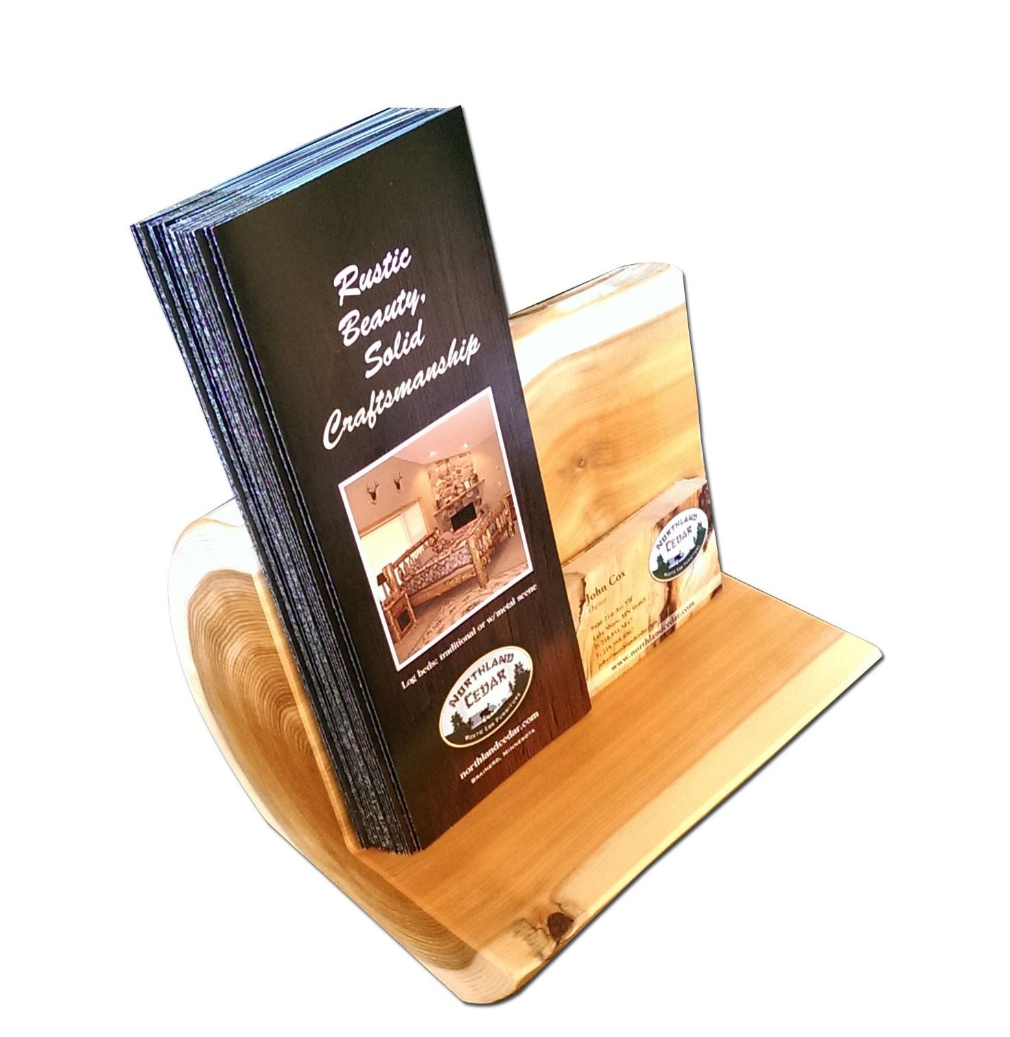 Log Large brochure holder | White Cedar | Barnwood