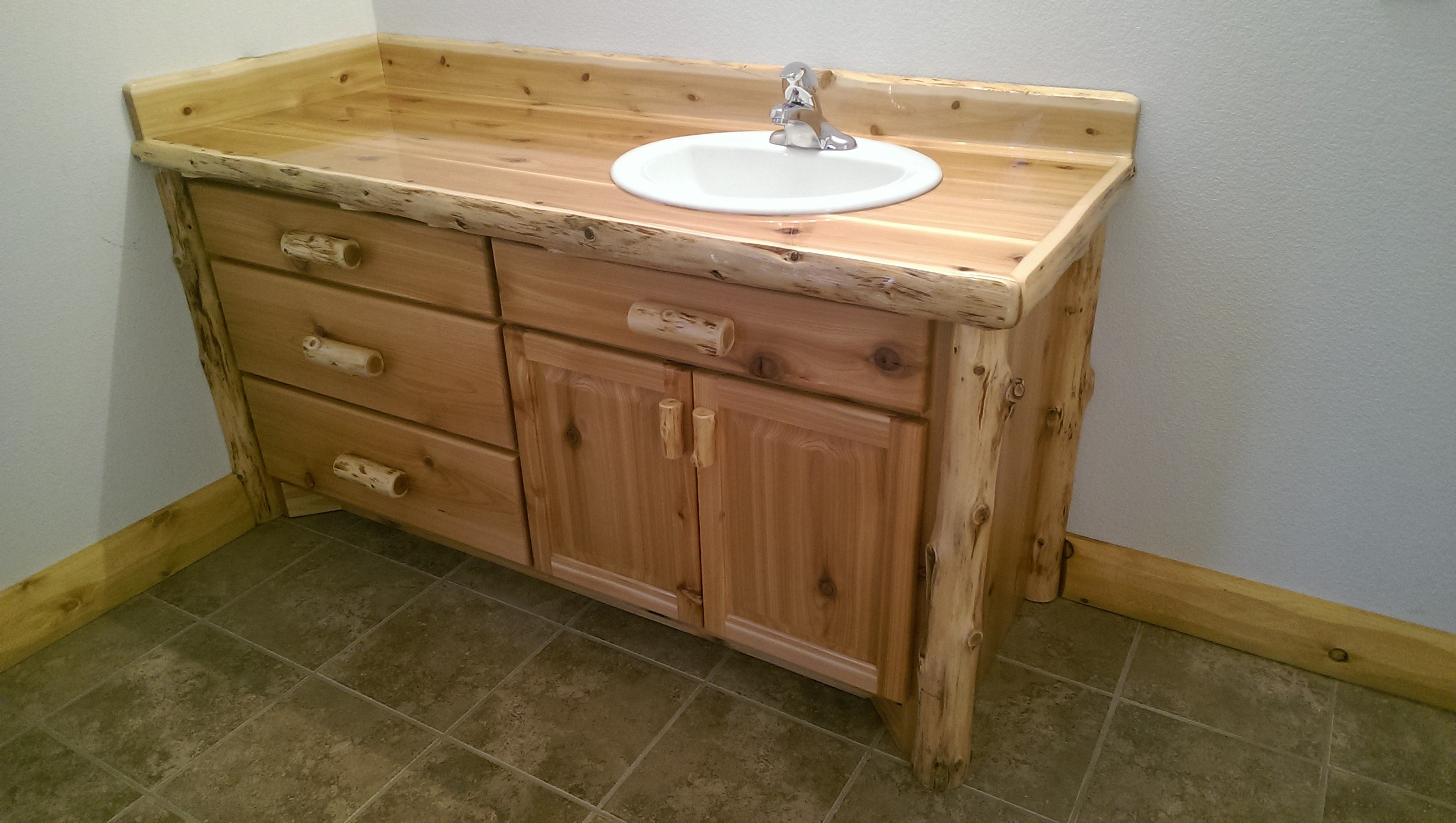 Log Bathroom Vanity White Cedar Barnwood