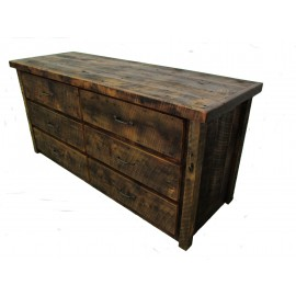 Reclaimed Barn Wood Six Drawer Dresser