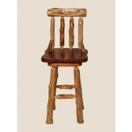 Log Curved Back Bar Stool with Swivel Seat