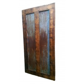 Reclaimed Barn Wood Sliding Door Style 6 Tin Inlay