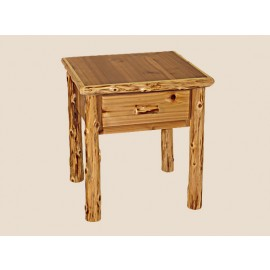 Log One-Drawer End Table