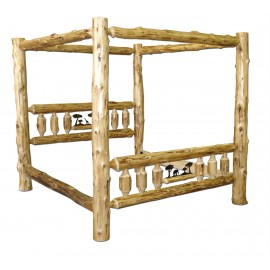 Canopy Log Bed With Metal Scene