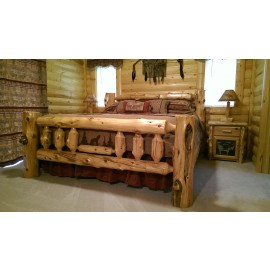 Traditional Log  Bed With Metal Scene
