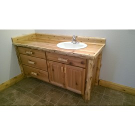 log Bathroom vanity 60 Inch