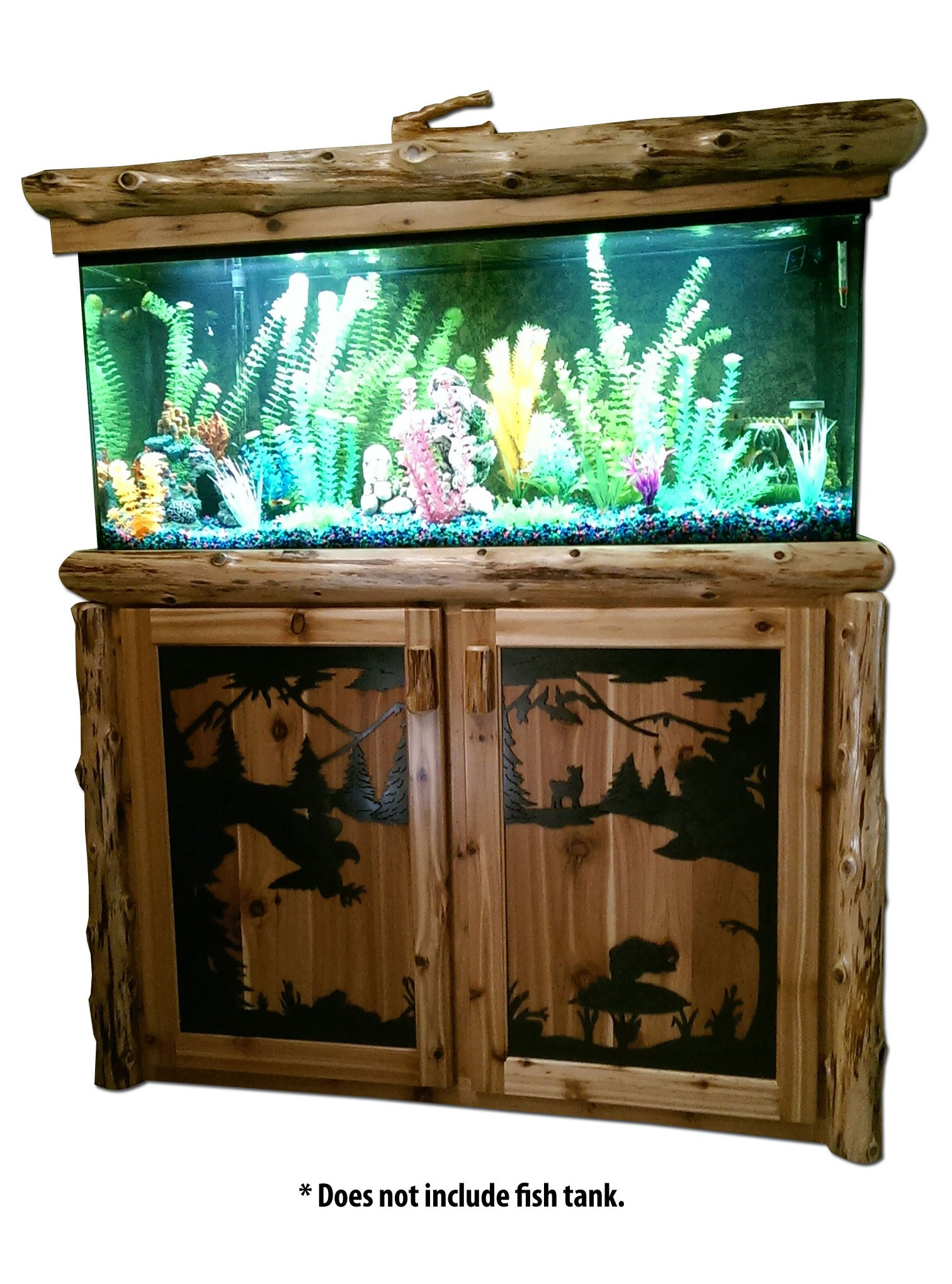 Log fish tank stand cabinet white cedar barnwood for Fish tank table stand
