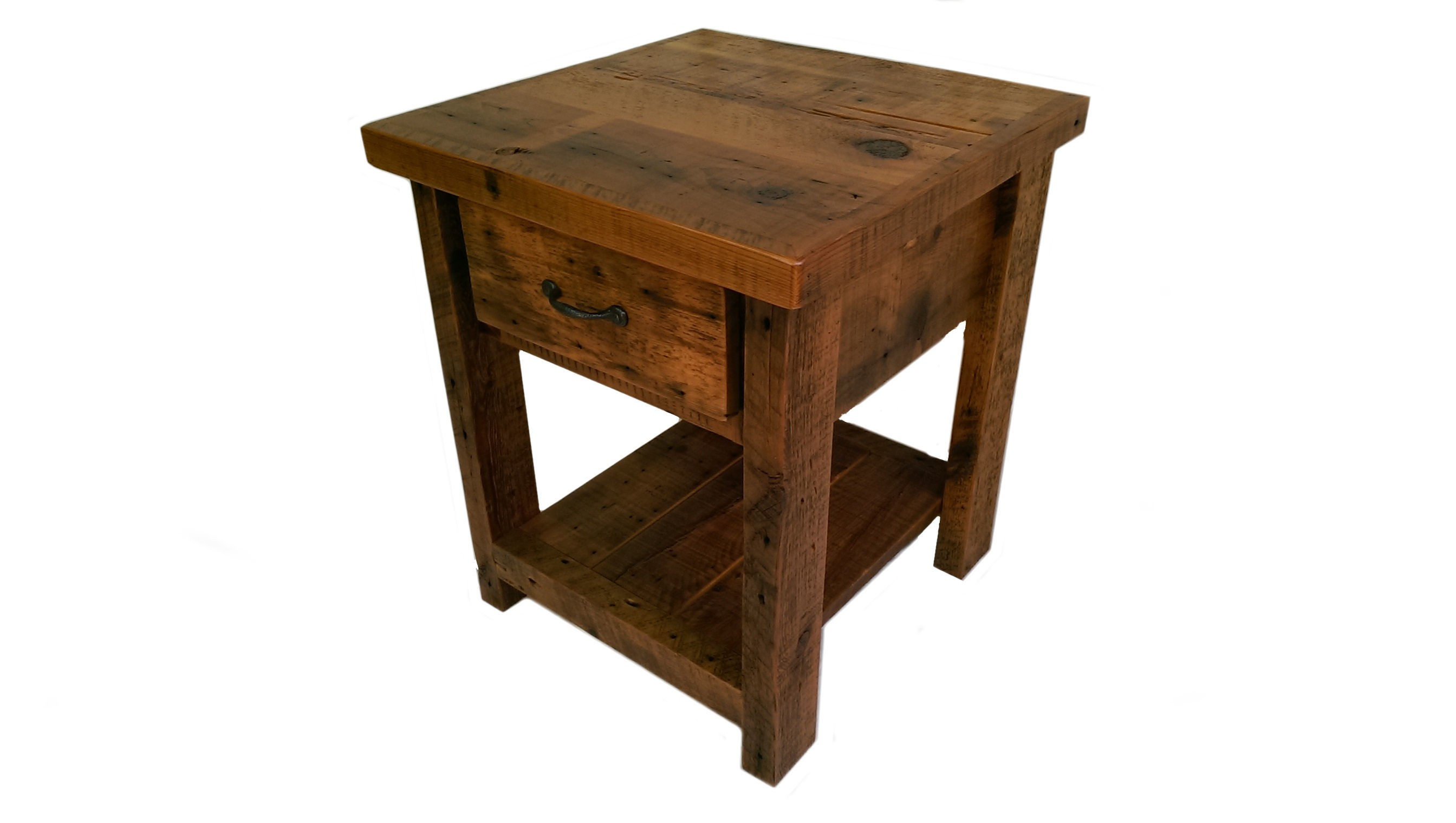 Reclaimed barn wood end table with one drawer and shelf