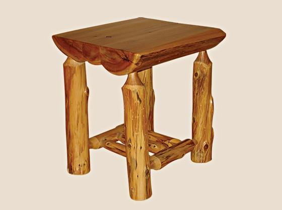 half log end table