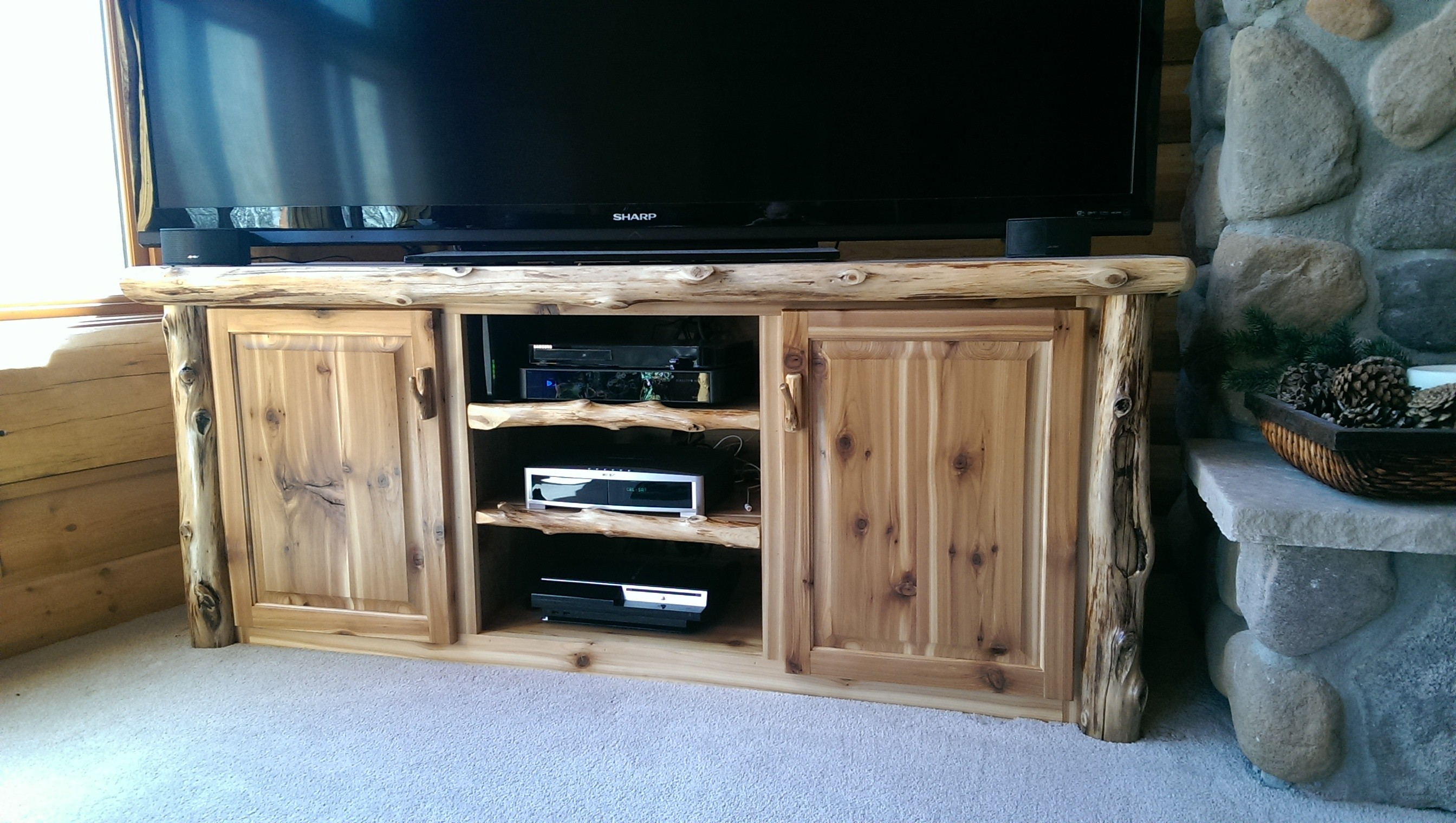 Custom Made Log TV Console ...