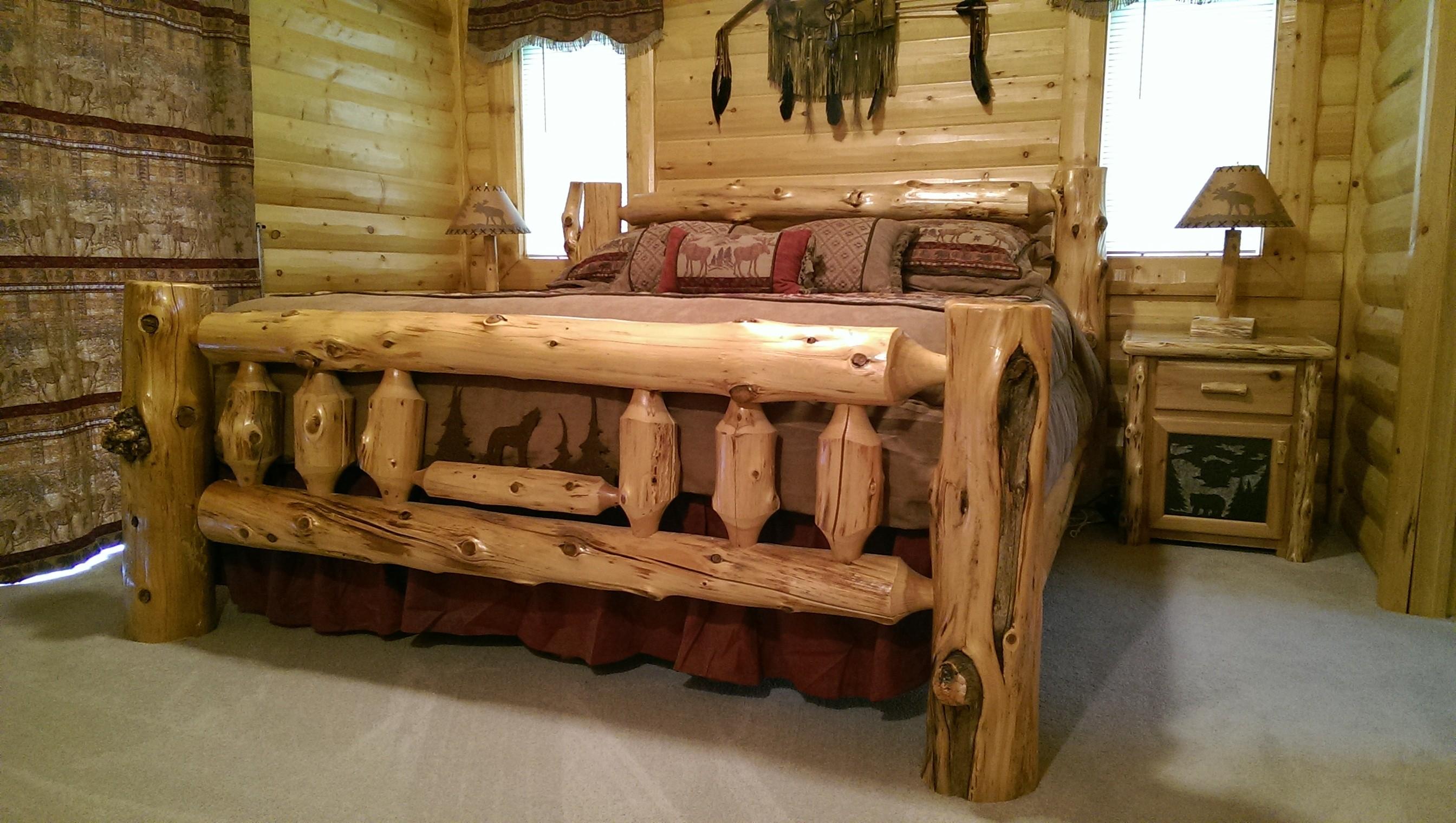 Log Beds Custom Log Beds With Wildlife Metal Scene White