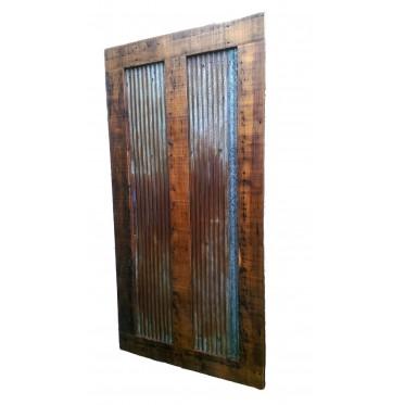Reclaimed Barn Wood Sliding Door Style 6 Tin Inlay