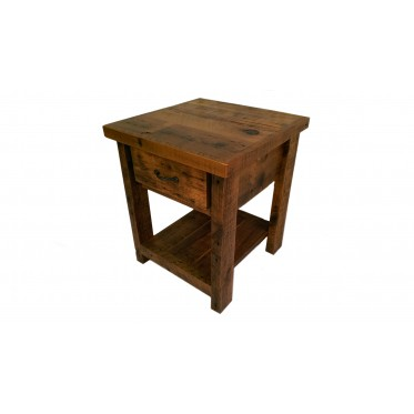 Reclaimed Barn Wood Nighstand With One Drawer and shelf