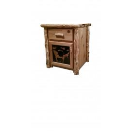 Log One-Drawer, One-Door Night Stand